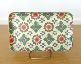 Moroccan print alcohol proof paper mache tray made in Japan, Alfred Knobler style tray