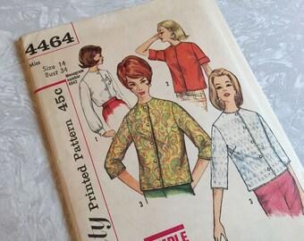 Simplicity 4464 Misse Blouse Size 14 Bust 34 1960s