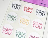 """Colorful 1"""" Thank You Stickers / Envelope Seals / Party Favor Stickers (24) FREE SHIPPING"""