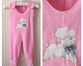 70s Baby Girl Pink Knit Lamb Footed Onesie, Size 0 to 3 Months