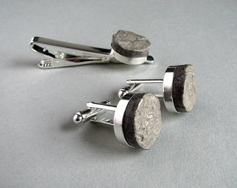 Eco-friendly 1st anniversary gift for husband • Recycled paper cufflinks & tie clip set • Paper jewelry for man • Free shipping