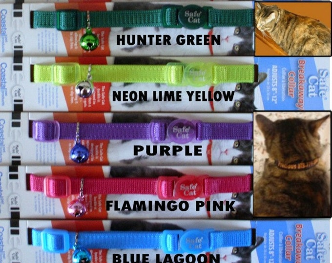 Featured listing image: Personalized Embroidered CAT SAFETY Collars  - Coastal Safe Cat Brand - 11 Colors To Choose From