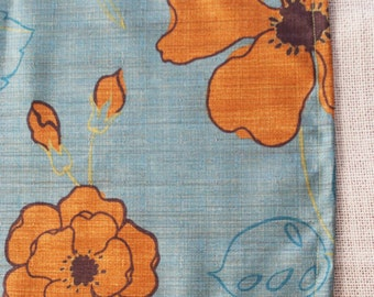 Turquoise Table Runner, 11x59 Retro Table Linens, Vintage Flowers, Indoor Outdoor Runner, Small Table Linens