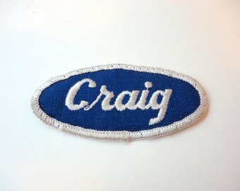 Vintage Embroidered Name Patch CRAIG Bowling Name Sew on Patch Uniform 1970s Upcycled Supply