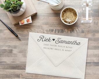 Custom address stamp. Hand-lettered address stamp. Wedding stamp. House warming gift. Newlyweds gift.  Custom return address stamp.