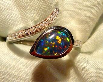 Opal Ring Ladies Sterling Silver 925 & CZ, 9x6mm Teardrop Triplet. item 100926.