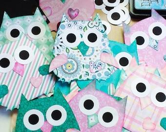 Handmade Garland: Owl Garland - Cute Owls - Colorful Owls - baby room decoration - wall decor - girls room - girl nursery - Wcards