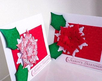 2 Poinsettia cards - Seasons Greetings - elegant holiday cards - red poinettia - white and red - Christmas cards - hand stamped - home made
