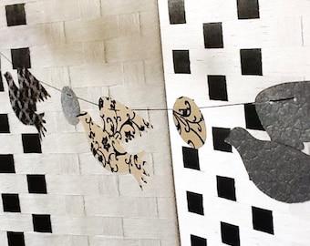 Handmade garland: Black bird garland - Bird garland - Doves - Dove Garland - large birds - Elegant - Wcards