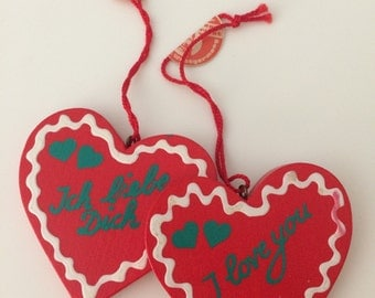 "Handmade Wood Heart Ornament Pendant 2 1/4"" Germany"