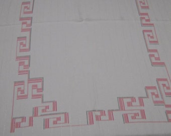 Mid Century 60s Geometric Pink Gray Silver Tablecloth Greek Key Design