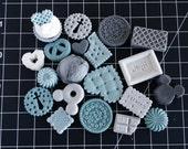 Dusty Blue Monochrome Cabochons Set 20pcs  - L204 -