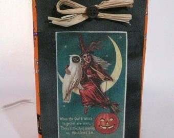 Halloween lamp cover. Halloween decoration. Halloween witch and owl LampSock©. Halloween witch decor. LAMP SOLD SEPARATELY.