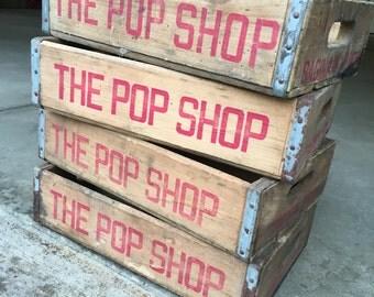 4 Vintage 1970's Pop Shop Wood Soda Pop Crate Saginaw Michigan