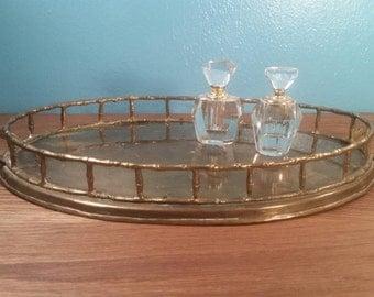 Oval Brass Bamboo Vanity Tray
