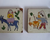 Vintage French Decorative Tiles (Pair)