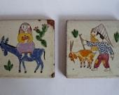 Vintage French Decorative Tiles (Pair)
