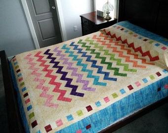 Strip Easy Chevron Queen quilt pattern hard copy