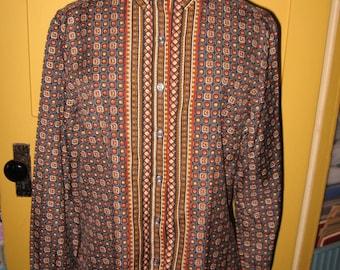 Gordon Peters George Yazbek long sleeve silky polyester dark print blouse shirt 1970s size 13-14