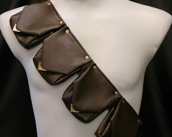 READY TO SHIP 4 Pouch Bandolier / Belt, Faux Leather