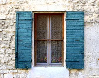 Provence, France, Country French Decor. Distressed Shutters Window Photograph. Old Shutters Shabby Chic. Boho Chic. Rustic French Home Decor