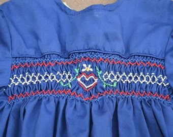 Adorable Vintage Princess Anne Girl's Blue Embroidered Boho Shirt, Long Sleeves, White Trim, Heart and Flowers Zigzag Embroidery, Size 4