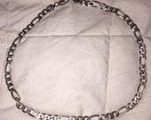 "Heavy Silver Necklace Vintage Sterling Silver Chain Link Choker 20"" Long 52 Grams Solid Silver Unisex"