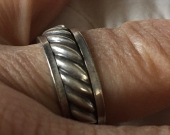Silver Wedding Band Size 8 Ring Vintage Turkish Sterling Silver Ring Unisex