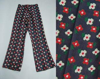 Vintage 60s Floral Bell Bottoms by Vivo Susan Thomas Red White Blue Green Stretch Winter Pants Slacks Flare Hippie Woodstock Size 8
