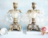 French Brass Candle Holders With Chandiler Prisms Set Of Two Candelabras Marble Base Hollywood Glam Home Decor Wedding Decor Gift For Her