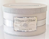 Card box wedding / Card holder / Wedding money box - beige and light silver - personalized