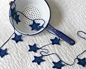 Navy Hand Crocheted Star Garland--Wedding, Christmas, Holiday or Anytime Home Decor