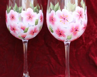 Hand Painted Wine Glasses (Set of 2) - Cherry Blossoms
