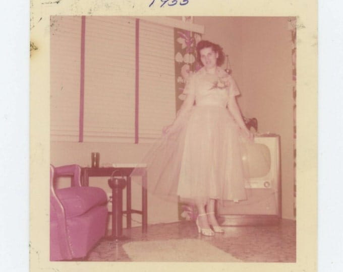 Vintage 1955 Kodacolor Snapshot Photo: Young Woman Models Dress in Living Room (69499)