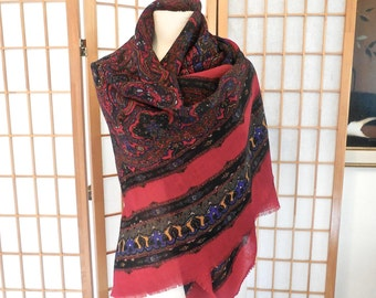 Vintage 80s Shawl in Wool of India Print Made in Italy