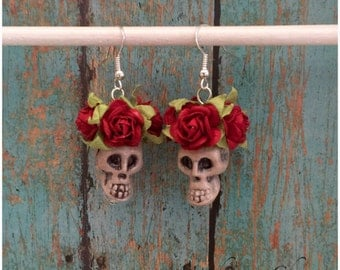 Day of the Dead Sugar Skull Dia de Los Muertos earrings