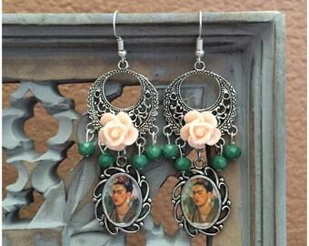 Frida Kahlo Artist Glass Beaded Earrings