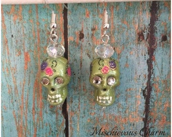 Day of the Dead Sugar Skull Jewelry Earrings