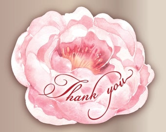 18pc Thank you stickers Rose Wedding Flower stickers Romantic bridal shower stickers Pink Peony flower stickers Favor sticker Gift packaging