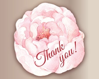 18pc Flower stickers Pink Thank you stickers Pink Peony flower stickers Rose Favor sticker Romantic gift packaging | Watercolor flower