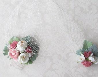 Floral Birdcage Veil / Flower Birdcage Veil /