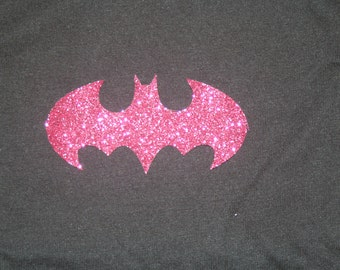 Batman Batgirl Shirt Toddler Girls Womens Logo Pink Sparkle Glitter Black T-Shirt