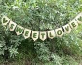 Wedding Banner-Moss SWEETLOVE Banner-Wedding Decor-Forest Wedding-Valentines Banner-Woodland Wedding Decor-Bridal Shower Decor