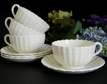 Four Copeland Spode Chelsea Wicker Cups and Saucers England