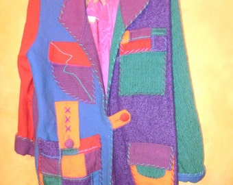 80s RaD WoMeNs CoLoR BLocK PaTcHWorK WooL OveRsiZeD BLaZeR / JacKeT S / M / L