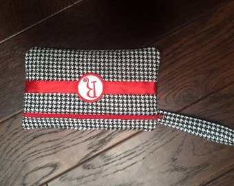 Quilted Houndstooth/Alabama Clutch/Game Day Wristlet/Purse