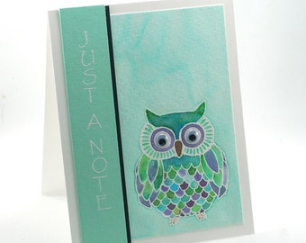 Watercolor wise owl just a note blank card, turquoise feathered owl thinking of you note card