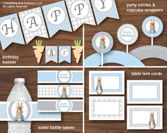 Peter Rabbit Printable Birthday Party Decorations, Blue and Gray Peter Rabbit Party Supplies, INSTANT DOWNLOAD, digital file
