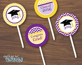 2016 Graduation Cupcake Toppers, Purple and Gold Chevron Graduation Party Circles, Favor Tags, DIY printable digital file