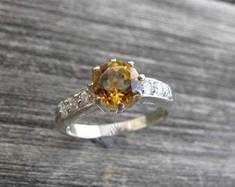Solitaire Citrine Ring- Silver Citrine Ring- Solitaire Ring- November Birthstone Ring- Promise Ring- Stack Ring- Gemstone Ring- Silver Ring